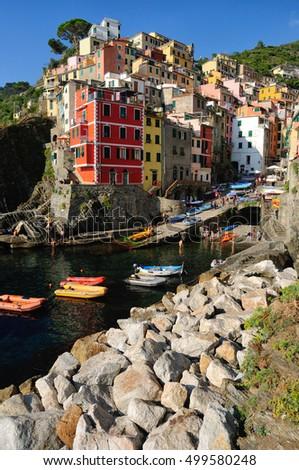 Riomaggiore small town in Liguria, Italy #499580248