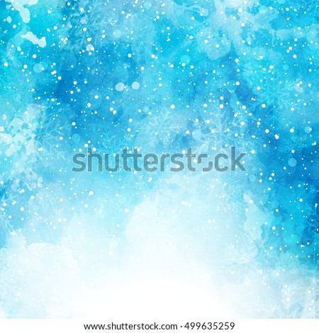 Christmas background with snowflakes on a watercolor texture #499635259