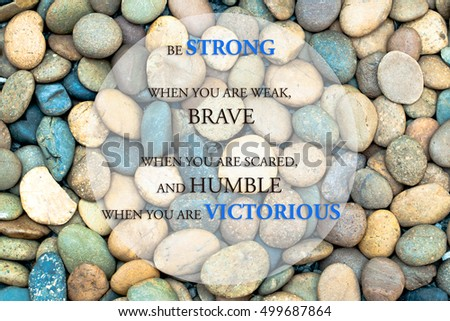 Inspiration quote, quote about the victorious with sea stone background. #499687864