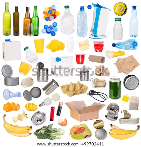 Samples of trash that can be recycled isolated on white background #499702411