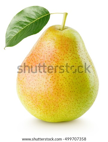 Red yellow pear fruit with leaf isolated on white with clipping path Royalty-Free Stock Photo #499707358