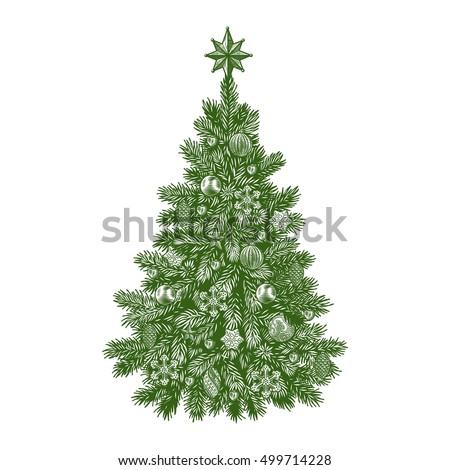 Christmas tree, detailed vintage vector illustration #499714228