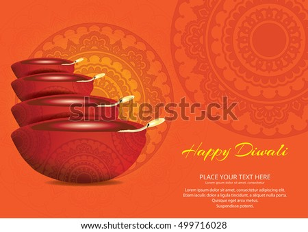 Elegant Illuminated Oil Lit Lamps, Beautiful Traditional Festive floral Background, Glowing Ornaments, Vector Illustration for Indian Festival of Lights, Happy Diwali Celebration. #499716028
