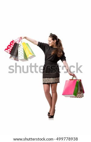 Young woman after shopping isolated on white #499778938