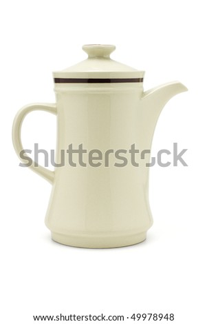 Porcelain coffee pot on white background #49978948