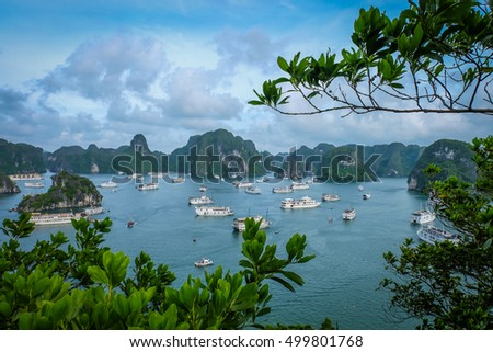 Halong bay boat hotel from top view on ti top Island Royalty-Free Stock Photo #499801768