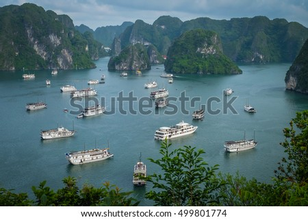 Halong bay boat hotel from top view on ti top Island Royalty-Free Stock Photo #499801774