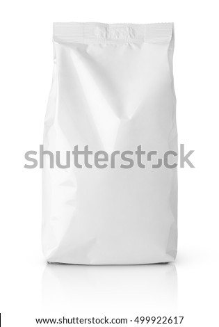 Front view of blank snack paper bag package isolated on white with clipping path Royalty-Free Stock Photo #499922617