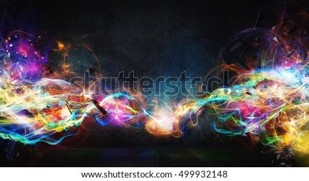 Modern abstract motion banner on dark background #499932148