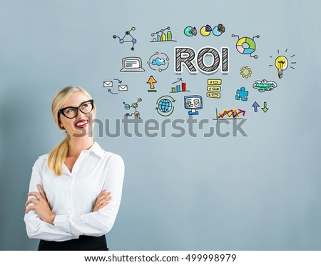 ROI text with business woman on a gray background #499998979