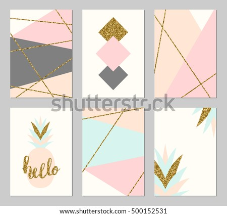 A set of six abstract geometric designs in gold glitter, gray, cream, light blue and pastel pink. Modern and original greeting card, invitation, poster design templates. #500152531