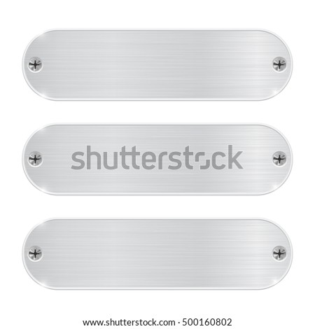 Oval metal plates with screws. 3d illustration isolated on white background. Raster version #500160802