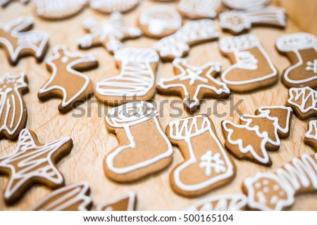 Decorated various  gingerbread cakes #500165104