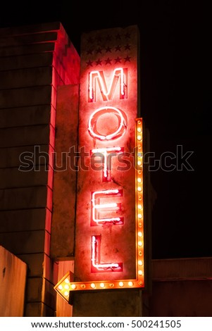 Night neon motel sign. American style motel outdoor advertisement sign. Love motel sign board. #500241505