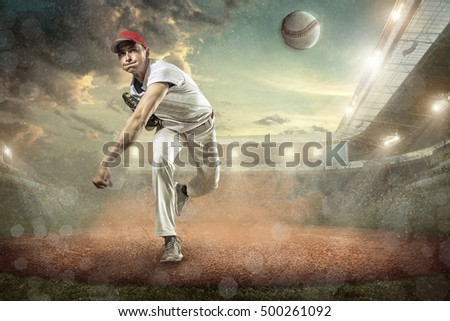 Baseball players in action on the stadium. #500261092