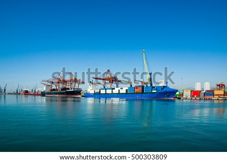 loaded container ship at the dock #500303809