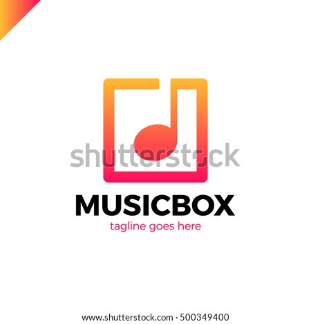 square abstract music note vector logo icon. This logotype for music industry, digital music, musical app button #500349400