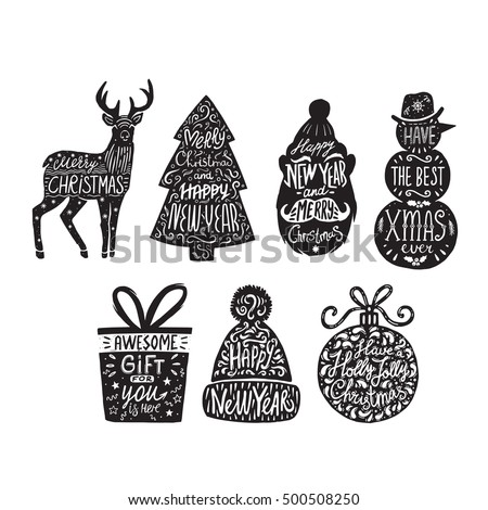 Set of christmas silhouette with lettering. Illustration on a white background.