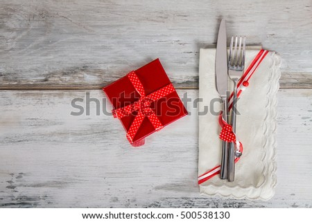 Holiday Table Setting with red box #500538130