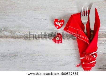festive cutlery for Valentine's Day  #500539885
