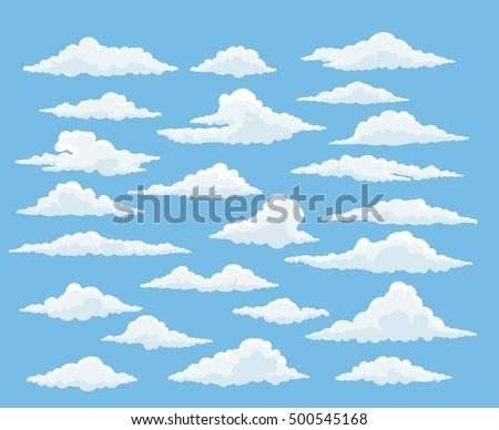 Cartoon cloud vector set. Blue sky with white clouds Royalty-Free Stock Photo #500545168