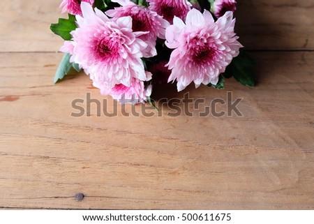 mum flowers on wooden, in valentine's day #500611675