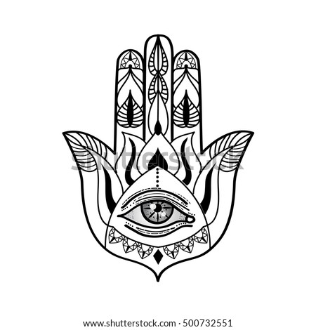 Vector drawing of a hamsa hand with all seeing eye. Adult coloring book illustration, Vintage bohemian style. #500732551