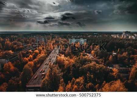 Chernobyl exclusion zone. Ruins of abandoned Pripyat city. Autumn in zone of exclusion. Zone of high radioactivity. Panoramic view of ghost town. Ruins of buildings. Chernobyl. Ukraine. #500752375