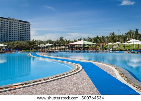Nha Trang, Vietnam - Oct 19 2016 : Golden Peak Resort & Spa view at Nha Trang. It is a popular destination for tourists with beachs and resorts. #500764534