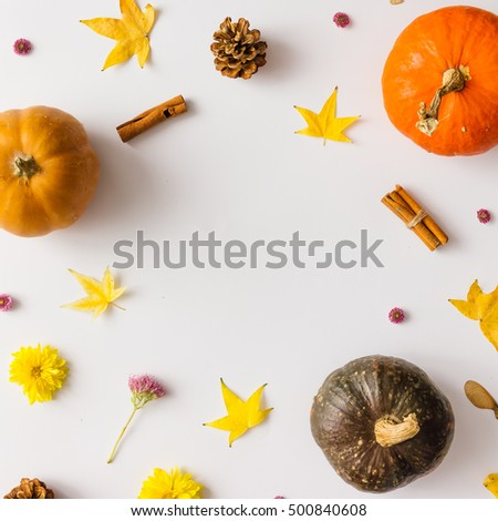 Colorful autumn pattern made of pumpkins, leaves and flowers. Flat lay. Fall concept #500840608