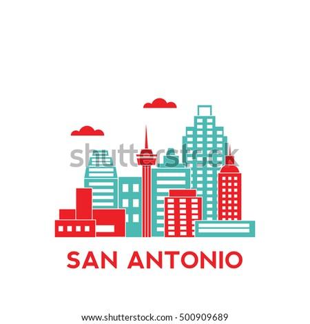 San Antonio city architecture retro vector illustration, skyline city silhouette, skyscraper, flat design