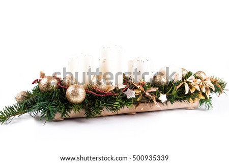 Advent candles on a white background #500935339