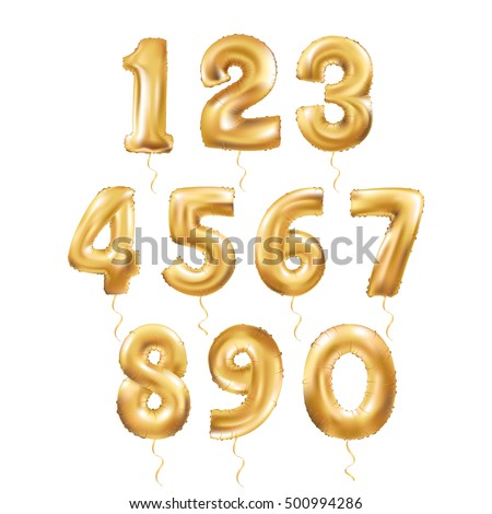 Metallic Gold Letter Balloons, 123 golden numeral alphabeth. Gold Number Balloons, 1, Alphabet Letter Balloon, 2, Number Balloon, 3 Air Filled Ball, numeral character