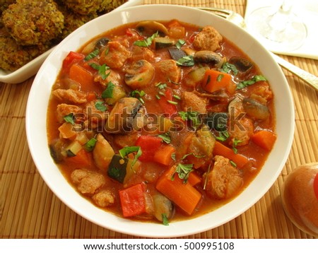 Vegetable stew with soy and mushrooms #500995108