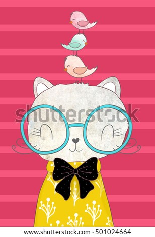 Cute cat and bird graphic