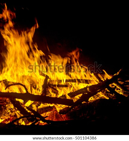Fire flames background. Mystic Bonfire at night. background #501104386