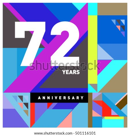 72nd years greeting card anniversary with colorful number and frame. Memphis style cover and design template #501116101