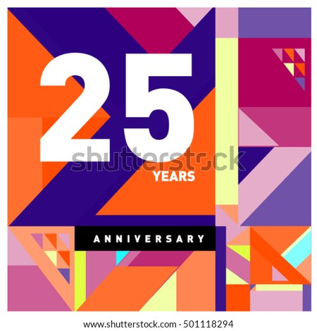 25th years greeting card anniversary with colorful number and frame. Memphis style cover and design template #501118294
