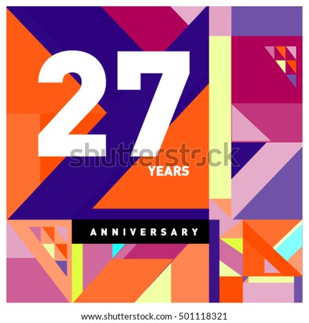27th years greeting card anniversary with colorful number and frame. Memphis style cover and design template #501118321