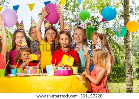 Group of happy kids celebrating birthday outdoor #501157228