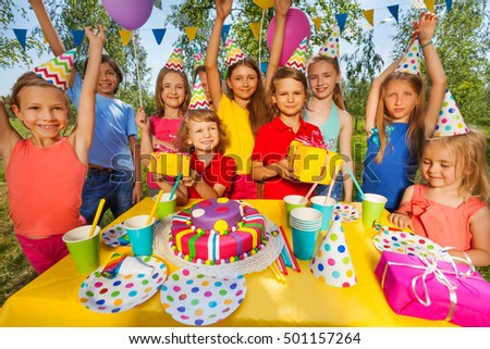 Happy smiling kids at the birthday party #501157264