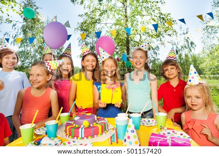 Big happy kid's company celebrating Birthday #501157420