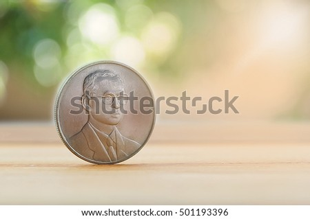 Money coin thai currency  on the wood background;king of thailand. #501193396