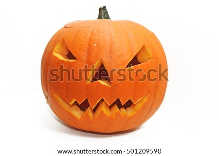 Halloween pumpkin head jack lantern with scary evil faces spooky holiday #501209590