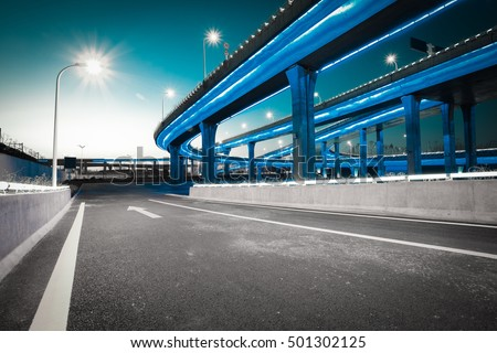 Empty road floor with city elevated bridge of night scene #501302125