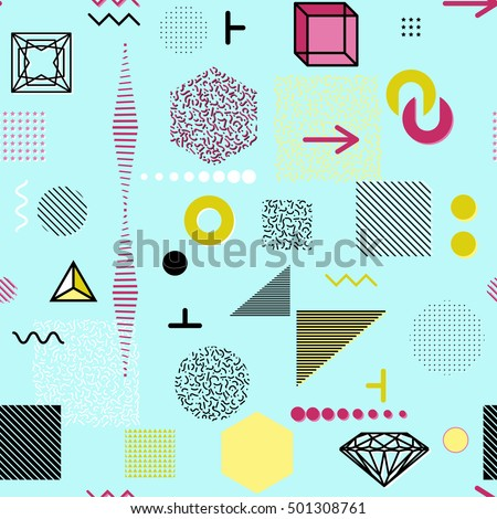 Trendy geometric elements memphis cards, seamless pattern. Retro style texture. Modern abstract design poster, cover, card design. #501308761
