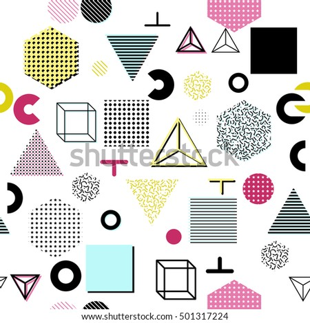 Trendy geometric elements memphis cards, seamless pattern. Retro style texture. Modern abstract design poster, cover, card design. #501317224