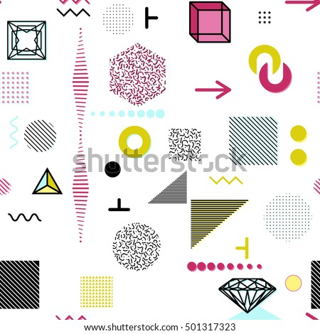 Trendy geometric elements memphis cards, seamless pattern. Retro style texture. Modern abstract design poster, cover, card design. #501317323