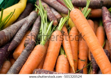 Fresh Carrots for sale at the Market #501320524