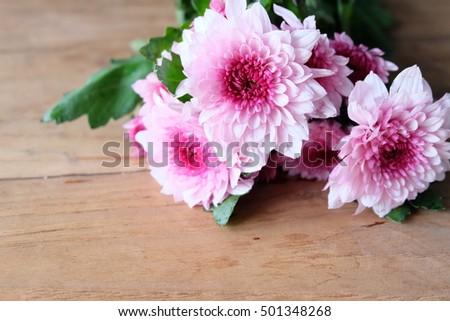 mum flowers on wooden, in valentine's day #501348268